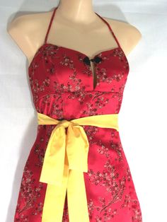 Red Asian Full Apron with Golden Sash  by BeaUniqueDesigns on Etsy, $10.00