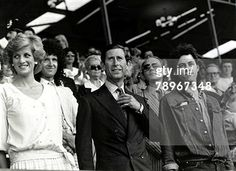 """July 13, 1985:  Prince Charles & Princess Diana with Bob Geldof at the """"Feed the World"""" Live Aid concert at Wembley Stadium. (Photo by Popperfoto/Getty Images)"""