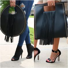 Left or Right? 😱😍 Our most loved ❤️👜 Search: 👜 Rock Chic, Leather Bags Handmade, Handmade Bags, My Bags, Purses And Bags, Stylish Handbags, Diy Handbag, Fashion Bags, Womens Fashion