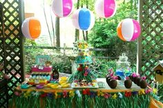 Not sure where the pin goes from here...but it certainly wasn't to the Hawaiian party. Anyway :) I just love the simple idea of hanging beach balls for beachy theme!