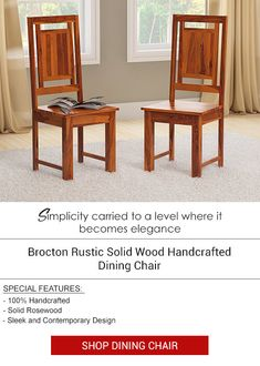 This elegant and modern is one that can add to the beauty of any dining room. The uniqueness of its design lies in the fact that it keeps both modern and classic elements alive. it is incredibly sturdy. Its linear features give it a contemporary look. Solid Wood Dining Chairs, Dinning Table, Kitchen Chairs, Dining Room Chairs, Contemporary Design, Hardwood, Rustic, Elegant, Classic