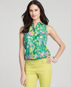 Petite Silk Cotton Havana Winds Print Shirt