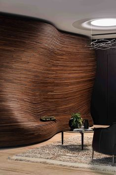 KPMG Recepetion Wall by Jack Flanagan - American Hardwoods Design - Perth-based designer Jack Flanagan's spectacular reception wall at the Woods Bagot-designed West - Interior Walls, Home Interior Design, Interior And Exterior, Interior Decorating, Interior Ideas, Parametrisches Design, Design Case, Detail Design, Curve Design