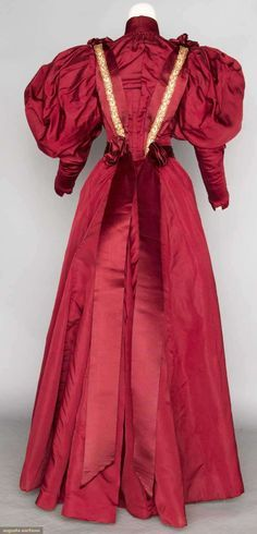 1895 Wine silk faille afternoon dress, Augusta Auctions