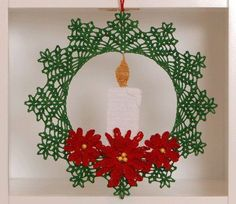 Poinsettia Candle Christmas Wreath Crochet Pattern