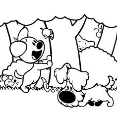 kleurplaat woezel en pip Animal Coloring Pages, Coloring Books, Coloring For Kids, Silhouette, Pattern Art, Girly Things, Pencil Drawings, Embroidery Patterns, Dogs And Puppies