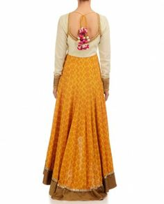 Cream & Yellow Anarkali with Printed Motif