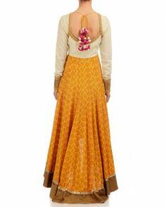 Cream & Yellow Anarkali with Printed Motif