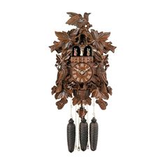 River City Clocks MD873-17 Birds with Leaves & Chicks in Nest Musical Cuckoo Clock - MD873-17