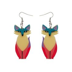 Limited edition, original Erstwilder Varuka Fox earrings in multi. Designed by Louisa Camille Melbourne. Fox Collection, Quirky Gifts, Resin Jewelry, Jewellery, Pin Up Style, Wholesale Jewelry, Plexus Products, Statement Earrings, Jewels