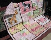 Baby Girl Safari Animals Personalized Quilt