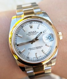 Brand new & unused Ladies Rolex 178243 Datejust Featuring oyster bracelet, silver dial and yellow gold smooth bezel. Used Rolex, Plastic Stickers, Oyster Perpetual Datejust, Thing 1, Leather Card Wallet, Rolex Datejust, Oysters, Rolex Watches, Gold Jewelry