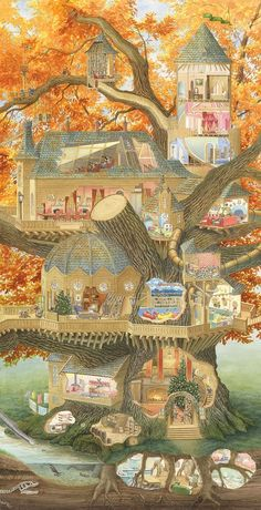 My last post on 'Paisley' gave you a sneaky peak at the huge treehouse cross-sec. My last post on 'Paisley' gave you a sneaky peak at the huge treehouse cross-section I was work Fantasy House, Fantasy World, Fantasy Magic, Fantasy Art, Chris Dunn, House Illustration, Illustration Children, Fantasy Landscape, Whimsical Art