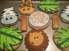 """Wild One"" Jungle Safari Birthday Cookies by @cookiesbykatewi #1stbirthday #giraffes #zebras #lions"