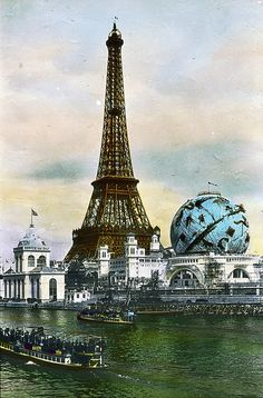 Eiffel Tower and Celestial Globe, Paris, France, 1900
