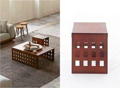Corten table à manger en acier rectangulaire Gianvittorio Plazzogna et Roberto Papparotto