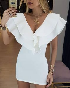 Layered Ruffles Design Bodycon Dress : Layered Ruffles Design Bodycon Dress – bodyconest This mini bodycon dress short features ruffles with v neck, looking stylish and chic,perfect for cocktail or party. Short Dresses, Prom Dresses, Formal Dresses, Baby Dresses, Elegant Dresses, Pretty Dresses, Casual Dresses, Summer Dresses, Wedding Dresses