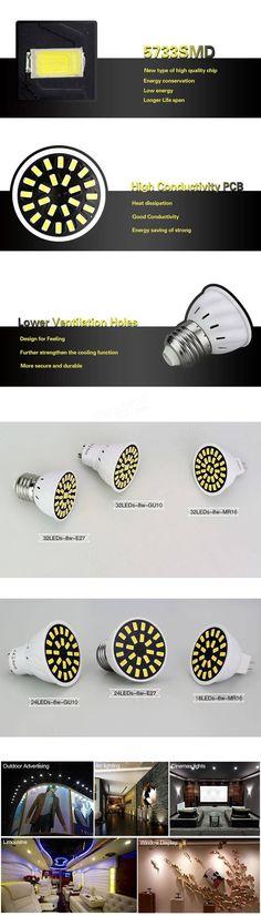 E27 GU10 MR16 8W 32 SMD 5733 LED Pure White Warm White Spot Lighting Lamp Bulb 220V