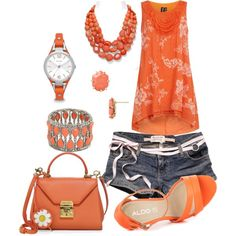 orange casual outfit by vst063090 on Polyvore featuring Dorothy Perkins, ALDO, Mark Cross, Aqua, BaubleBar, FOSSIL, Kendra Scott and Abercrombie & Fitch