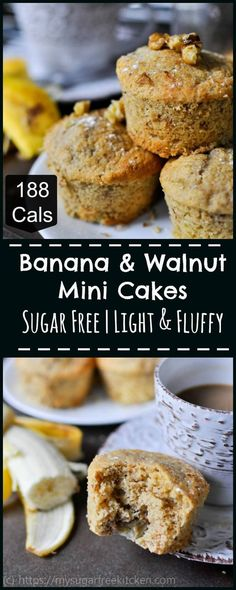 These banana and walnut mini cakes are sugar free and are deliciously light and fluffy, and oh so easy to make.   188 Calories.   These are the snacks you want in your freezer to pull out each morning as you head off to work.