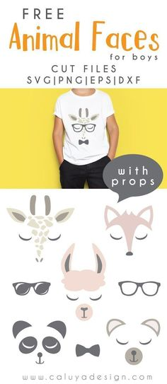 FREE animal faces for boys SVG cut file, Printable vector clip art download. Free printable clip art boys animal faces.