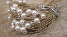 Hemp string bracelet silver and white beads fiber jewelry
