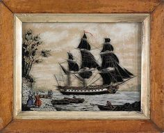 Reverse painting on glass - ship portrait, mid 19th Century.