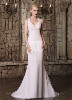 [75.99] Graceful Chiffon Halter Neckline Mermaid Wedding Dresses  - dressilyme.com