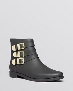 Loeffler Randall Fenton Flat Rain Booties - Designed with buckle detailing, Loeffler Randall's flat rain booties are so stylish you'll want to rock them whatever the weather.