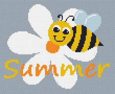 Summer Bee free cross stitch pattern