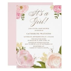 Watercolor Pink Peonies It's a Girl Baby Shower Card - shower gifts diy customize creative