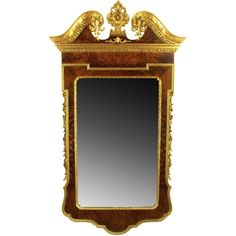 Italian Neoclassical Burled Walnut & Parcel Gilt Mirror   1stdibs.com