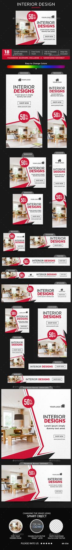 Interior #Design #Banners - Banners & Ads Web Elements Download here: https://graphicriver.net/item/interior-design-banners/19537163?ref=alena994