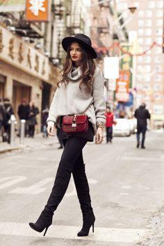 knit: Gina Tricot // leather shorts: vintage  // over knees boots: Missguided // bag: Valentino // hat: H&M http://FashionCognoscente.blogspot.com