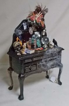 Dolls house Miniature filled Witch / Vampyra Dressing Table
