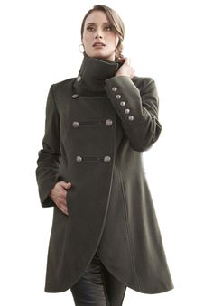 27589492334 Plus Size Coat in Military Style