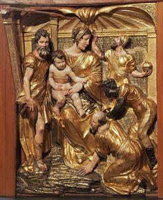 ALONSO BERRUGUETE: La Adoración de los Magos. Pertenece al retablo de San Benito de Valladolid, hoy en el Museo Nacional de Escultura.