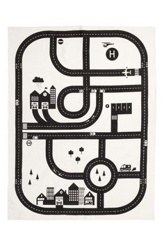 White/car track. Rectangular rug in cotton fabric with a printed motif at front. Non-slip protection at back.