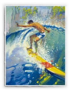 """Spray by #RonCroci. #SurfArt signed by the artist. 18"""" by 24"""" signature print available for $125 unframed, or $295 with black satin or bamboo frame."""