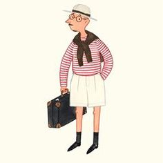 Holiday look inspired by Larry from The Durrells #menswear #mensfashion #breton #stripes #fashionillustration #slowboy