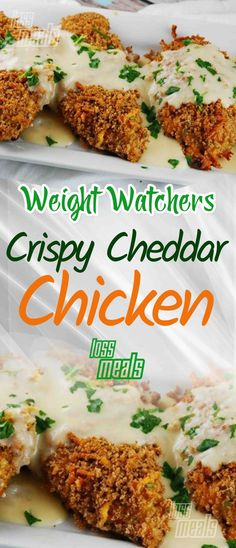Crispy cheddar chicken recipe Crispy coated chicken topped with a velvety chees. - Crispy cheddar chicken recipe Crispy coated chicken topped with a velvety cheesy chicken sauce tha - Poulet Weight Watchers, Plats Weight Watchers, Weight Watchers Diet, Weight Watchers Chicken, Weight Watcher Dinners, Weight Loss Meals, Ww Recipes, Chicken Recipes, Dinner Recipes