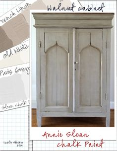 An old Walnut Jelly Cabinet is given an update with Annie Sloan Chalk Paint. First, a coat of Paris Grey, then a mix of French Linen and Old White. Clear Wax, and Dark Wax in the crevices. Painting Wood Furniture White, Chalk Paint Colors Furniture, Painting Wood Cabinets, Annie Sloan Painted Furniture, Gray Chalk Paint, Annie Sloan Paints, Colorful Furniture, How To Mix Annie Sloan Chalk Paint, Couleurs Annie Sloan