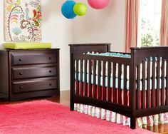 , Charming Cradle Design Called Brie Traditional Crib In Espresso For Baby Dream Furniture Also Cool 3 Drawer Chest And Pink Fur Carpet Color Also Pink Green And Blue Lantern Color Also Red And Comely Striped Curtain: Realizing the Dream Baby Nurseries with Baby's Dream Furniture