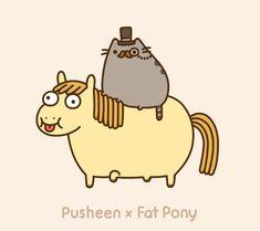 Pusheen on fat pony