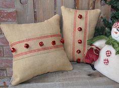 Winter Pillow Burlap Red Bells Rustic Home Decor by sherisewsweet