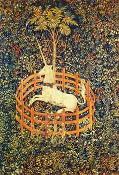 Scarlet Quince cross stitch chart: The Unicorn in Captivity, from the Hunt of the Unicorn series