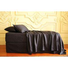 Linen Queen Flat Sheet - Black