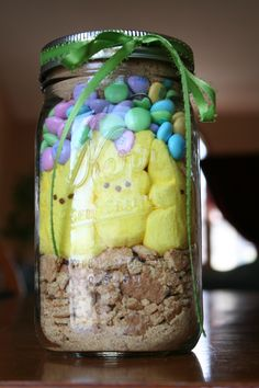 Easter Crafts: Bunny Smores in a Jar. Perfect DIY for grandmas and grandkids