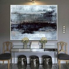 Large Oil Painting Original Canvas Black Painting Gray Painting Contemporary Art Acrylic Painting On Canvas Wall Painting For Living Room Large Canvas Wall Art, Abstract Canvas Art, Large Art, Painting Abstract, Horizontal Wall Art, Contemporary Paintings, Decoration, Art Decor, Etsy