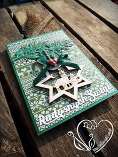 Kartka zielona na Boże Narodzenie #asiscrapki